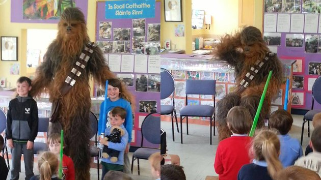 Star Wars Episode VIII: Chewie Escapes from Ahch-To to Visit Irish Schoolkids!